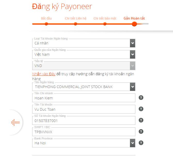 form đăng ký Payoneer