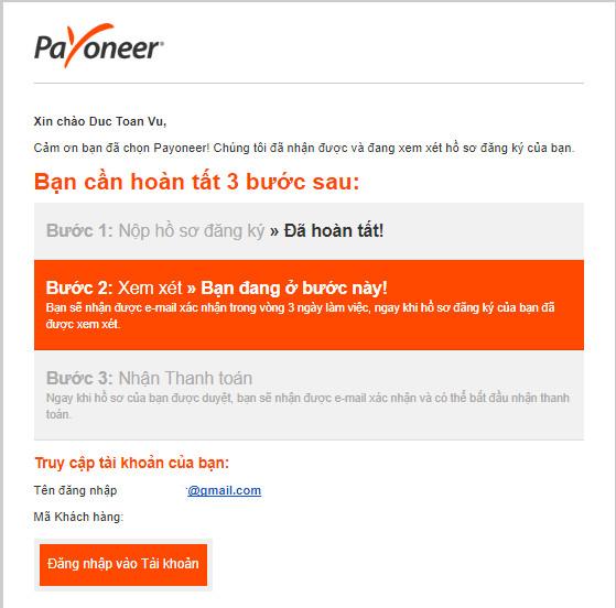 hoàn tất form đăng ký Payoneer