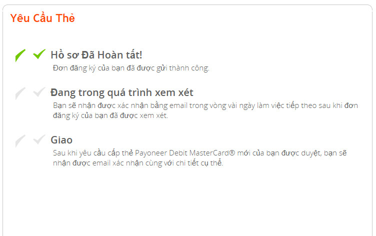 Yêu cầu 1 thẻ cứng Payoneer