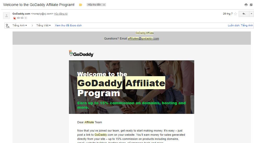 chào mừng tham gia chương trình affiliate của Godaddy
