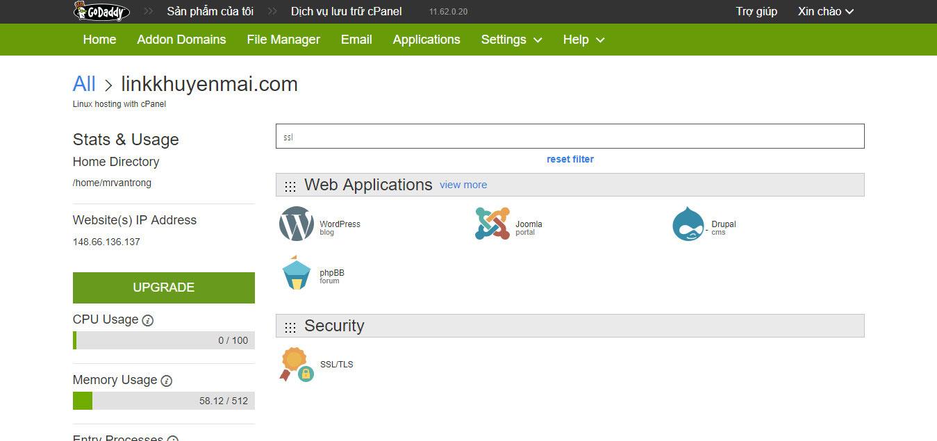 Kích hoạt SSL cho hosting Linux Godaddy