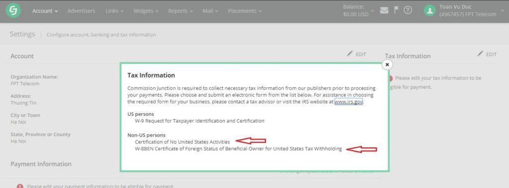 thông tin về thuế trong CJ.com