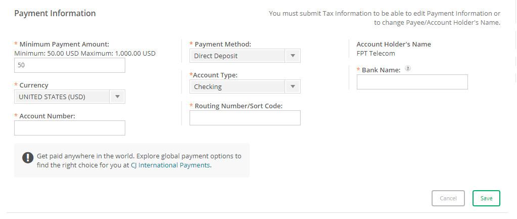 Cập nhật thông tin thanh toán trong CJ.com