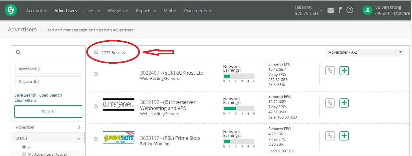 các sản phẩm affiliate trên CJ.com