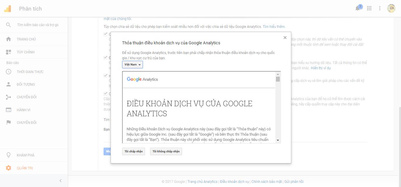 tạo tài khoản analytics bằng tagmanager
