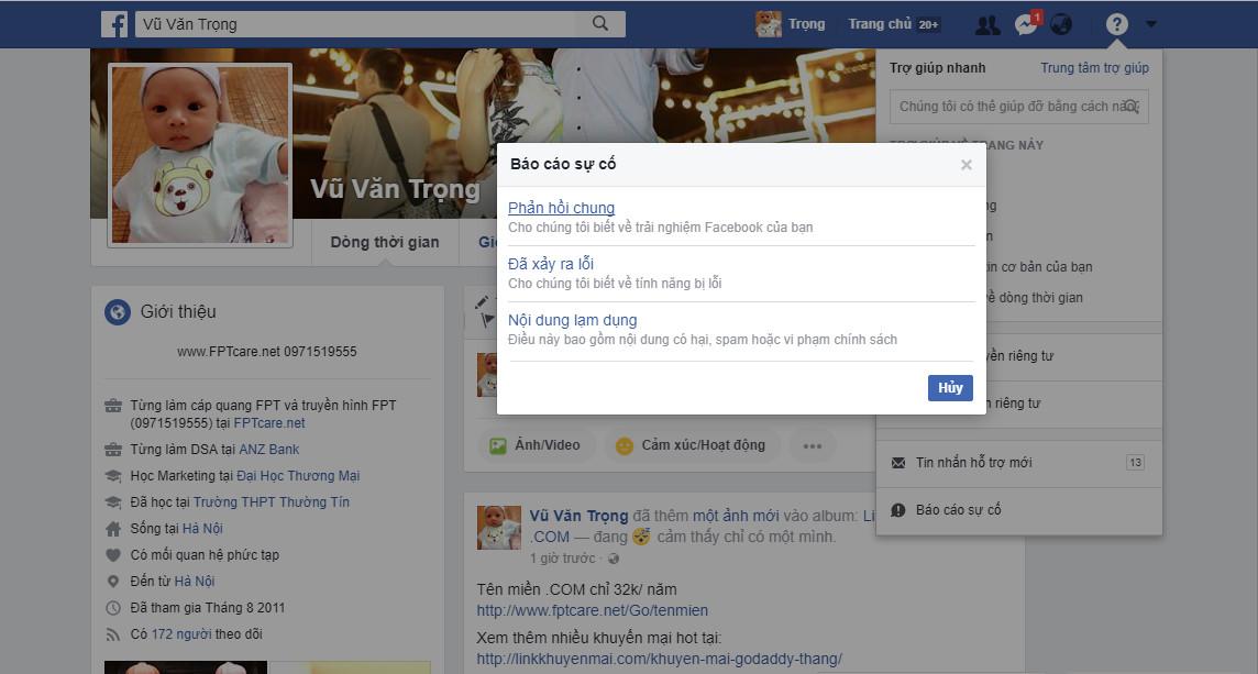 Vào giao diện báo cáo sự cố facebook