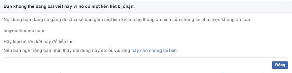 Thông báo của facebook chặn việc chia sẻ link web (mượn của 1 bạn)