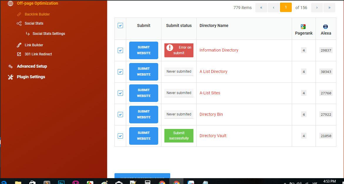 các trang có chỉ sốPagerank vàAlexa trong Premium SEO Pack