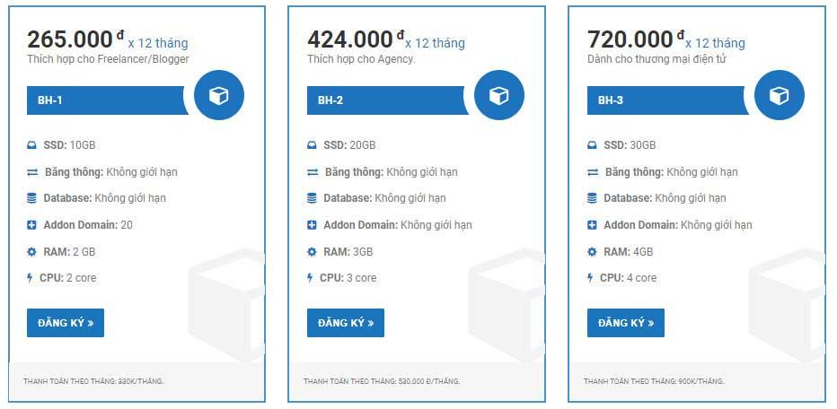 Bảng giá và thông số các gói hosting cấu hình cao của Azdigi