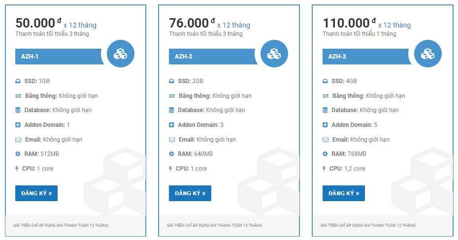 Bảng giá và thông số các gói hosting giá rẻ của Azdigi