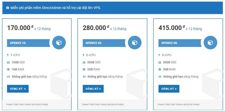 Cấu hình và giá bán VPS giá rẻ Azdigi