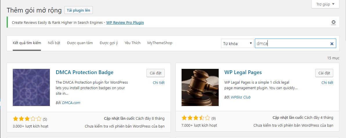 Đăng ký DMCA cho website wordpress
