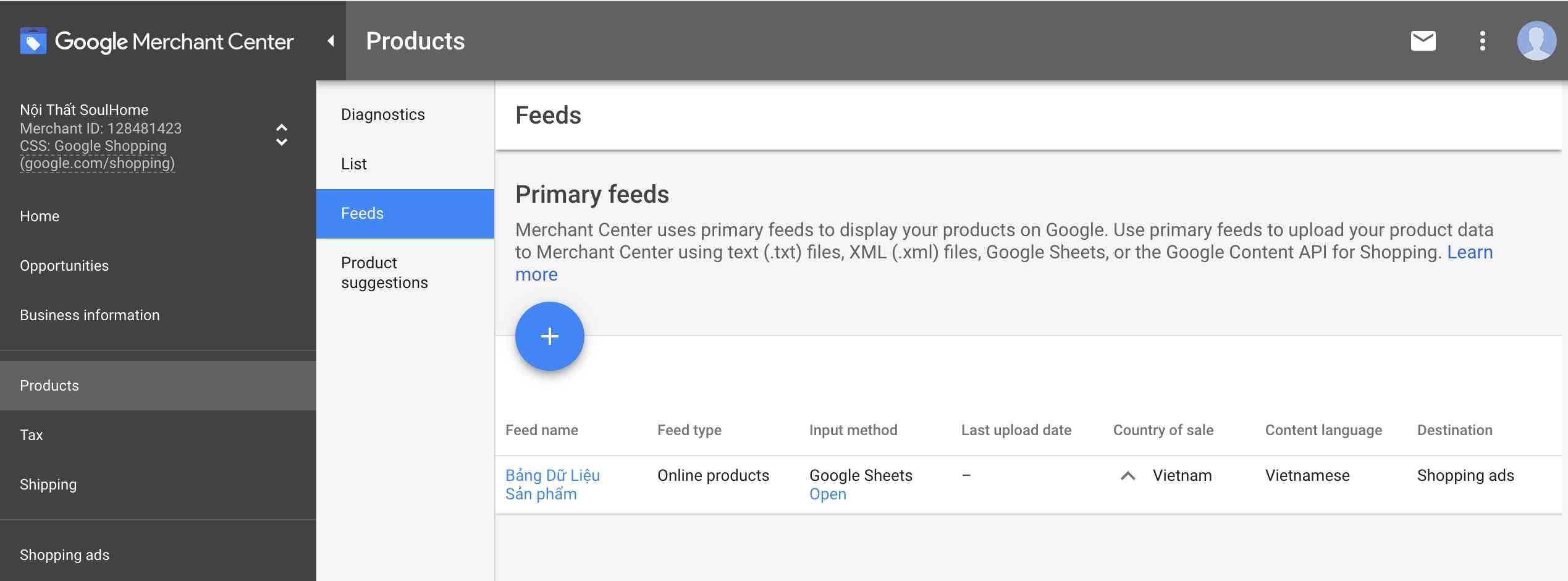 Tạo danh sách sản phẩm google shopping